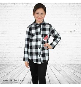 Koszula dziewczęca krata 128-158 6 sztuk