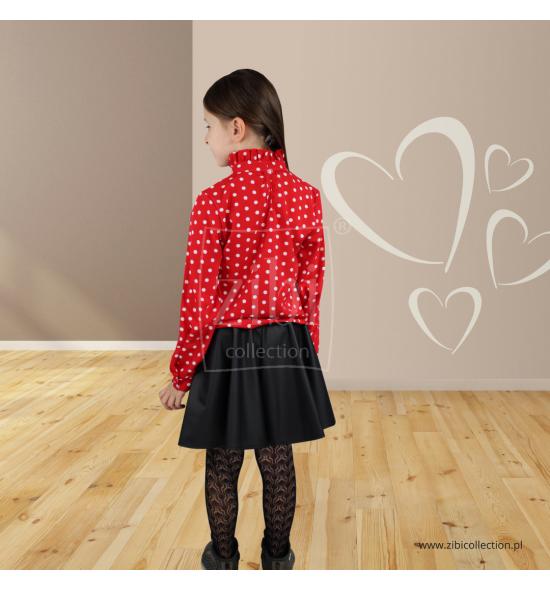 Bluzki czerwone w groszki 122-158 - 6 sztuk
