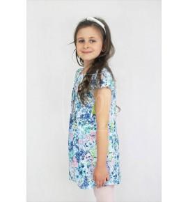 Zwiewne letnie sukienki w kwiaty niebieskie 128-158 / 6 szt