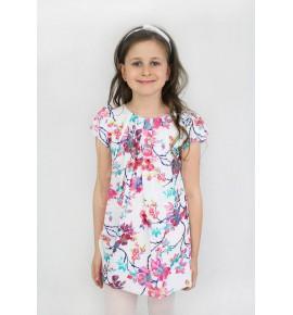 Zwiewne letnie sukienki w kwiaty jasna róż 128-158 / 6 szt